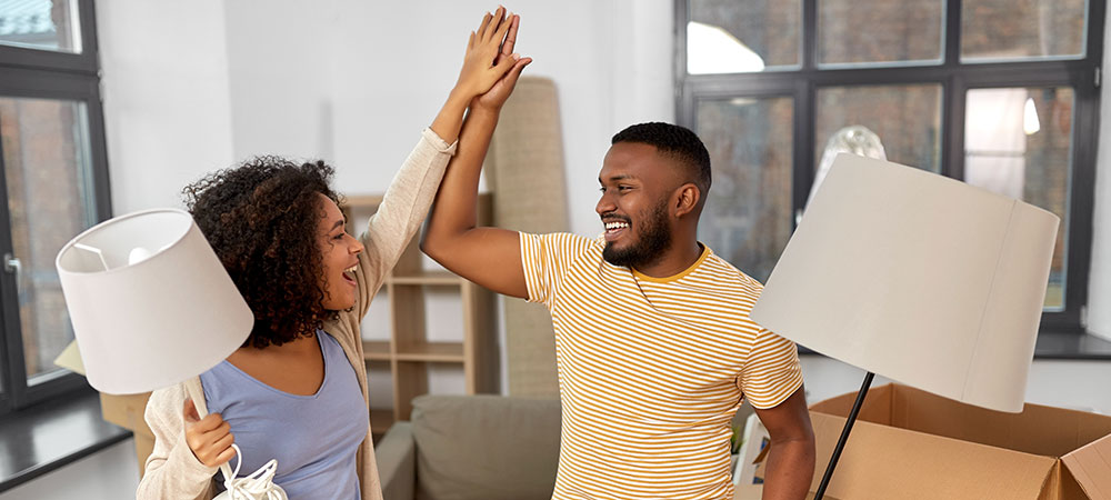 A young couple moves into their new house – now the real work begins, starting with taking out household insurance and other first steps to a happy home.